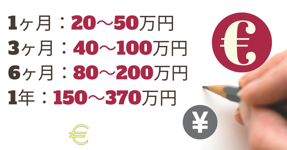 留学費用、1ヶ月20〜50万円、3ヶ月40〜100万円、6ヶ月80〜200万円、1年150〜370万円、円、yen