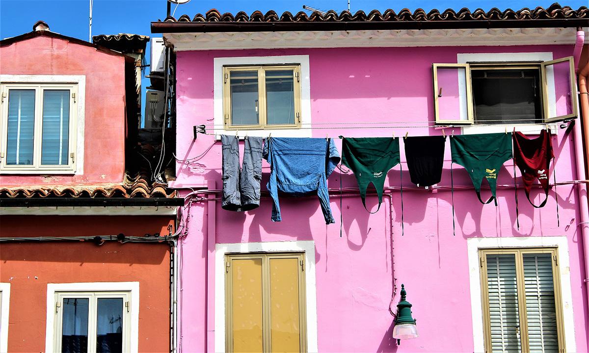 イタリア風景、ベネチア風景、洗濯物、イタリア生活風景