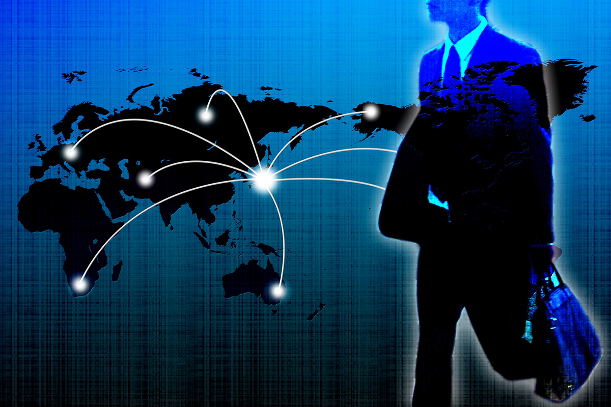 ビジネスマン、グローバル化、世界地図、国際化