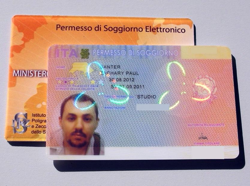滞在許可証、イタリア滞在許可証、permit of stay ,permesso di soggiorno