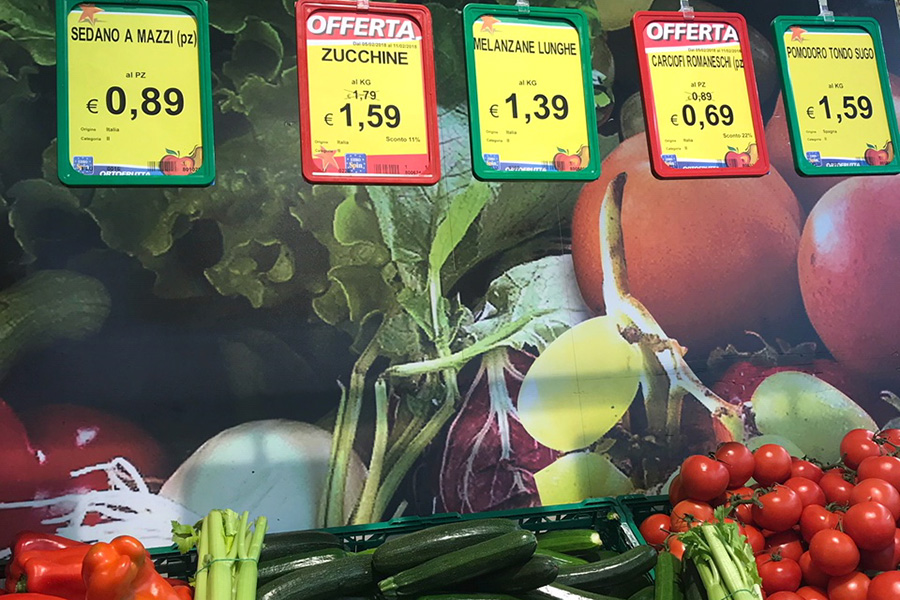 イタリアスーパーマーケット、野菜売り場