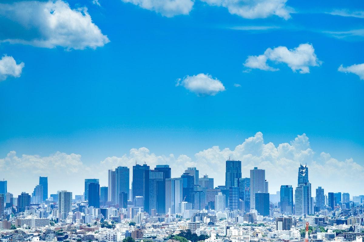 東京、街並み、高層ビル群、日本