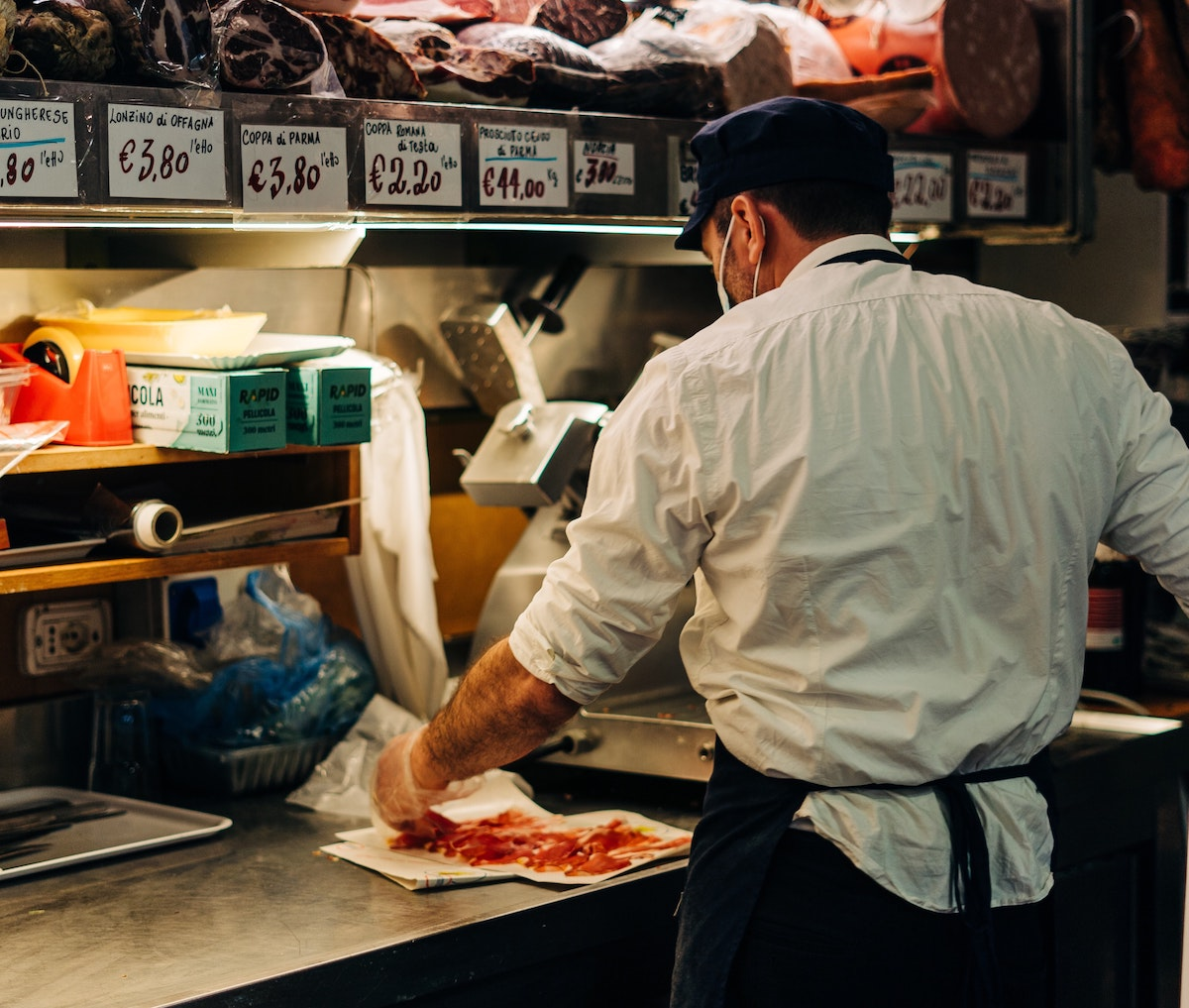 肉屋、イタリア市場、イタリア風景、イタリア