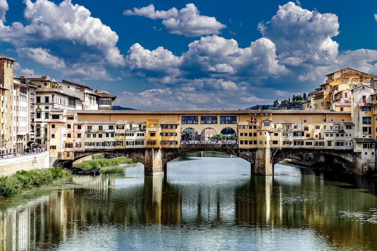 フィレンツェ、ポンテベッキオ、イタリア風景、イタリア