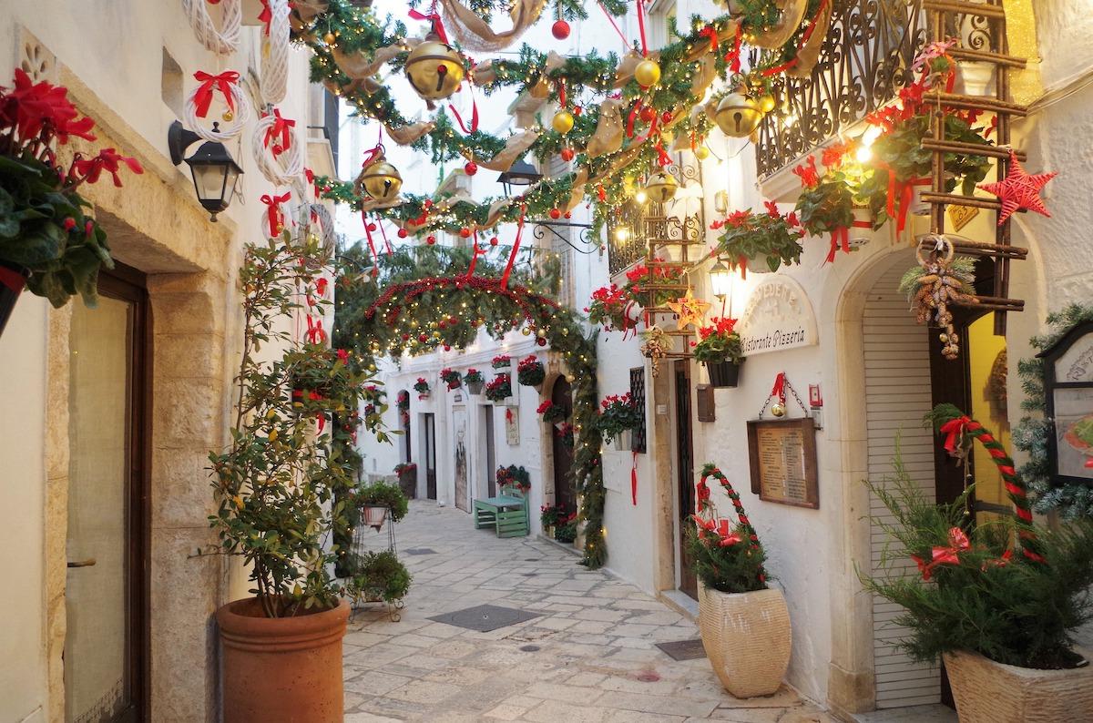クリスマス、ロコロトンド、クリスマスデコレーション、イタリア風景