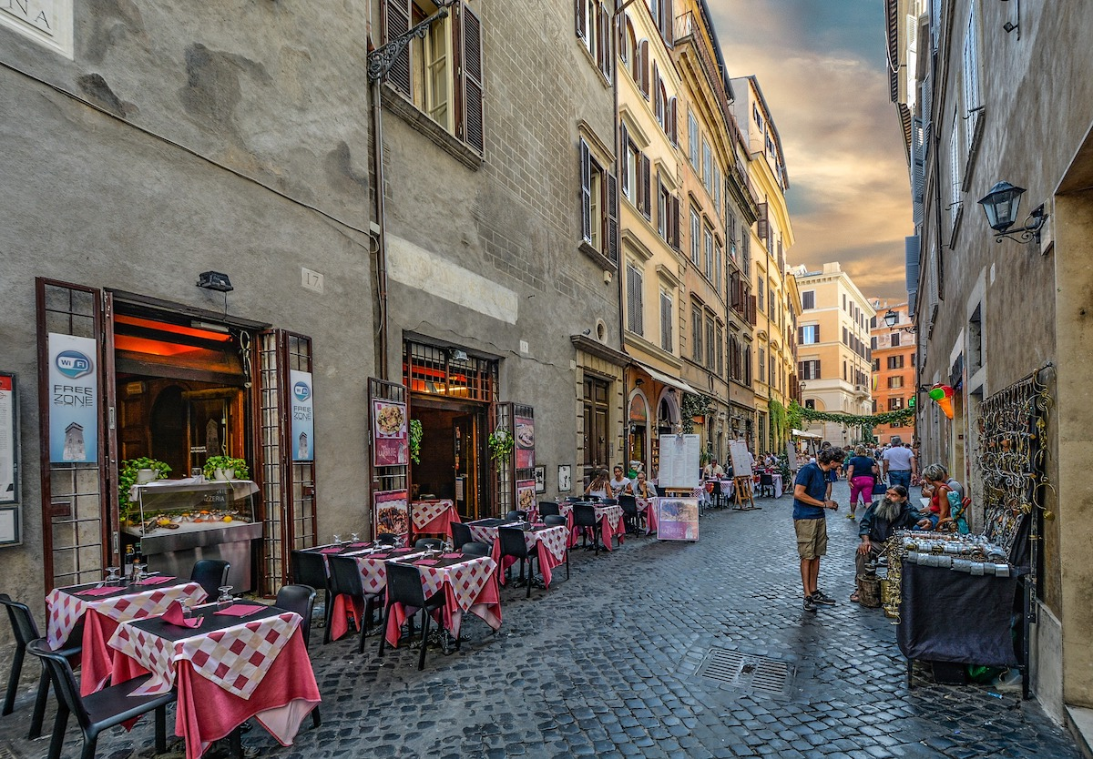 イタリア、ローマ、屋外レストラン、イタリア風景